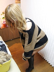 Blonde japanese girl on the massage table