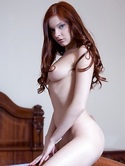 Redhead girl shows her pussy at home and on the road