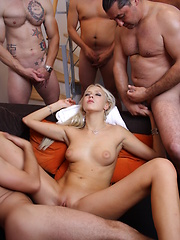 Four cocks drilling one blondie