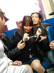Young teen Yayoi Yoshino gets gagged on a bus