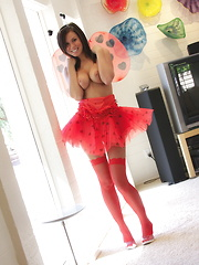 The delicious Destiny Moody is a cute as a bug on a rug in her sexy ladybug costume