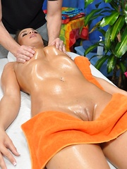 18 year old Teal gets fucked hard from behind by her massage therapist