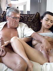 Naughty girl Erica Black seduces BF's dad to fuck her pussy