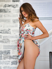 Luna Pica strips her flowery dress on the chair as she flaunts her slender body.