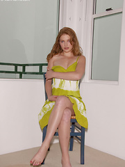 Stormy Rose strips off her sexy, green dress on the chair showing her gorgeous, perky tits