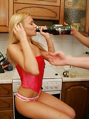 This boozed blonde gets her every hole filled up