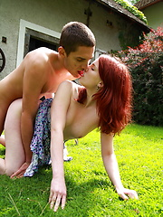 Redhead teen gets fuced outdoor